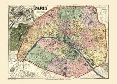 Affiche Carte de Paris 30x40 - The Dybdahl Co.