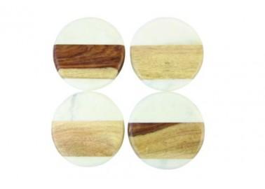 Dessous de verre ronds en marbre blanc et bois (Lot de 4) - Be Home