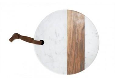 Planche ronde en marbre blanc et bois - Be Home