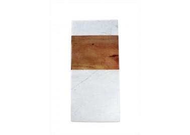 Planche rectangulaire en marbre blanc et bois - Be Home