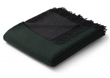 Plaid en laine et cachemire vert et gris - Biederlack