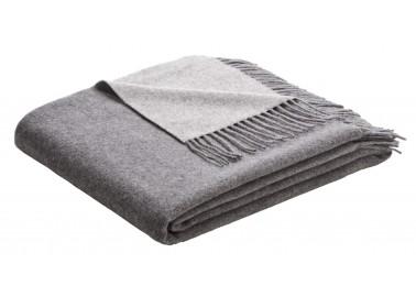 Plaid en laine et cachemire gris bicolore - Biederlack
