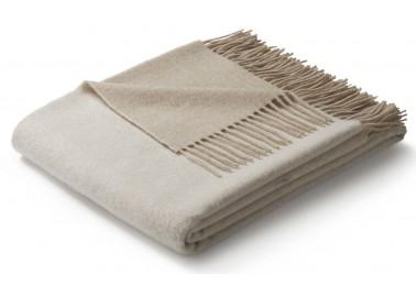 Plaid en laine et cachemire beige et blanc - Biederlack