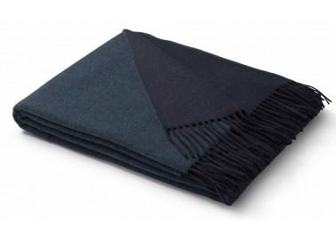 Plaid en laine et cachemire bleu bicolore - Biederlack
