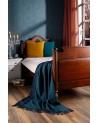 Plaid en laine et cachemire bleu bicolore - Lit - Biederlack