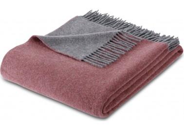 Plaid en laine et cachemire rouge et gris - Biederlack