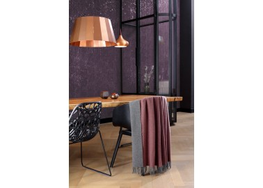 Plaid en laine et cachemire rouge et gris - Salon - Biederlack