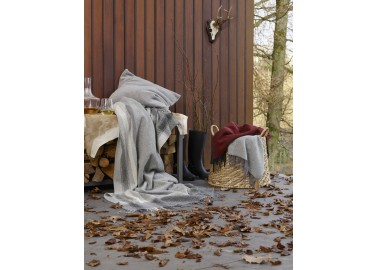 Plaid en laine et cachemire gris bicolore - Panier - Biederlack